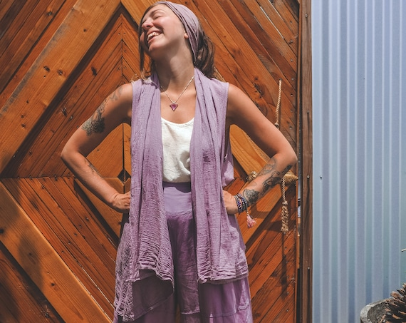 Gauze Flowy Vest in LAVENDER // Natural Fiber, Breathable /Wood Buttons Close It Up
