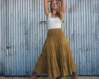 3a958564d4 Gauze Tiered Maxi Skirt in GOLD // Pockets, Natural Fiber, Flexible  Waistband / Breathable Elegance!