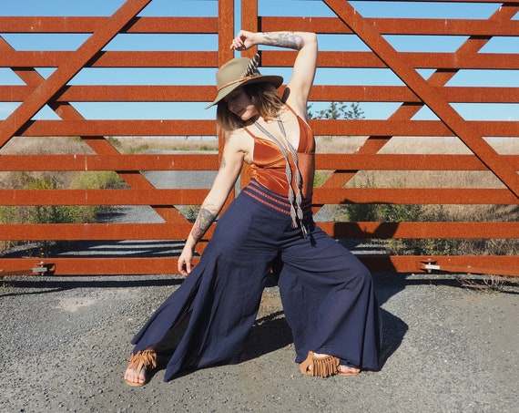 SALE! Cotton Prairie Pant in NAVY // Partially Lined, Moisture Wicking, Yoga, Biking, Play! Flexible Waistband.
