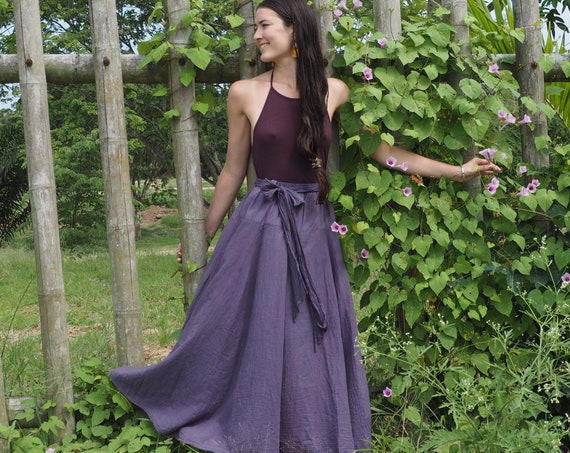 The Athena in PURPLE CHARCOAL // Gauze Cotton Skirt // Light, Flowy, Playfully Elegant Skirt // You are a Gift!