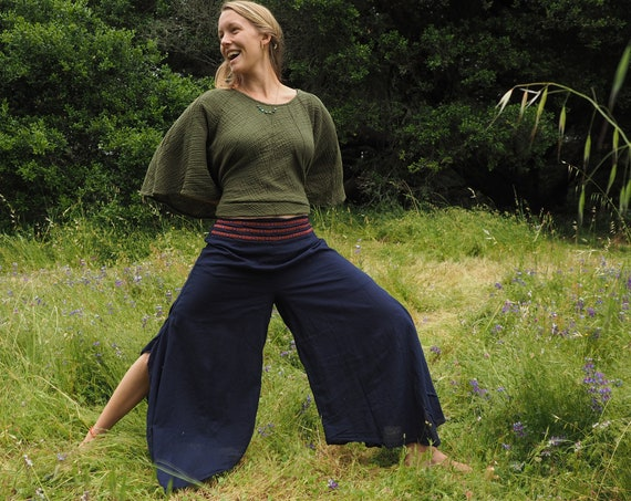 Cotton Flow Pant in NAVY // Partially Lined, Moisture Wicking, Yoga, Biking, Play! Flexible Waistband.