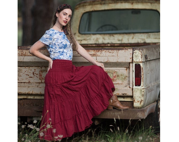 Gauze Tiered Skirt in RED ROSE // Pockets, Natural Fiber, Flexible Waistband / Breathable Elegance!