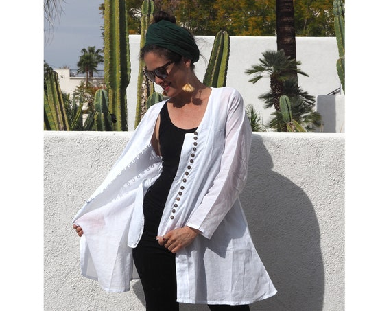 SALE! Gauze Button Coat in WHITE // Natural Breathable LIGHTcoat // Desert Dream
