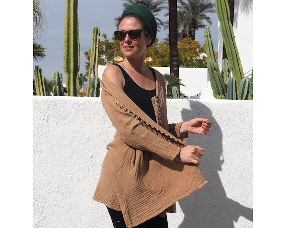SALE! Gauze Button Coat in SAND // Natural Breathable LIGHTcoat // Desert Dream