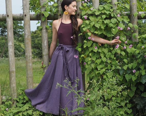 The Athena in PURPLE CHARCOAL // Gauze Cotton Skirt // Light, Flowy, Playfully Elegant Summer Skirt // You are a Gift!