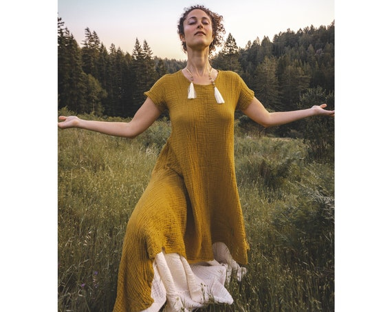 Softest Tee Dress in GOLD // Breathable Woven Cotton Dress // Radiate the light of a thousand suns