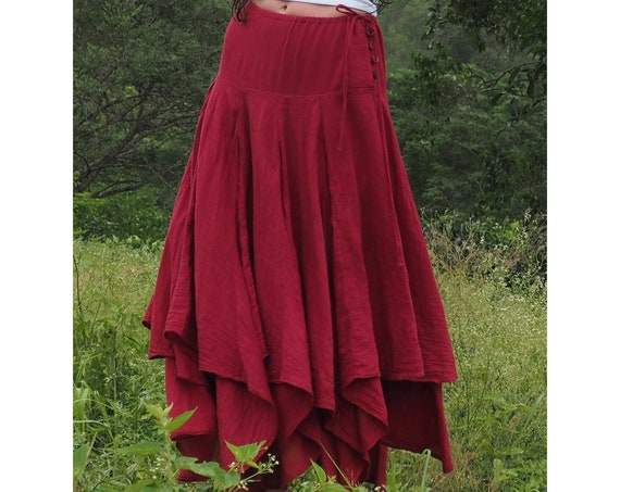 Fairie Skirt in RED // Gauze Cotton Drawstring Skirt // Twirl and Dance with the Fairies