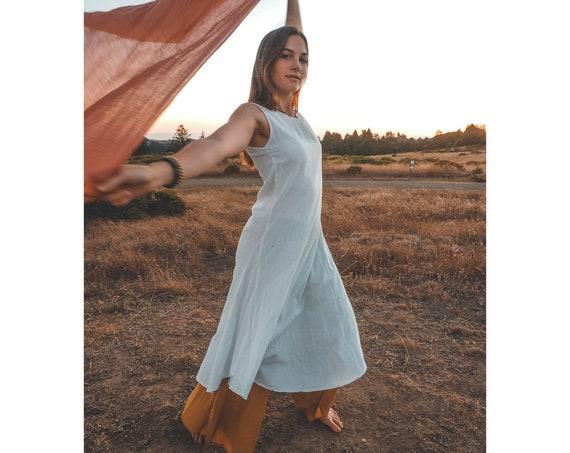SALE! White Cotton Tank Dress // 100% Gauze Cotton Tunic // Luminous Layering Freedom