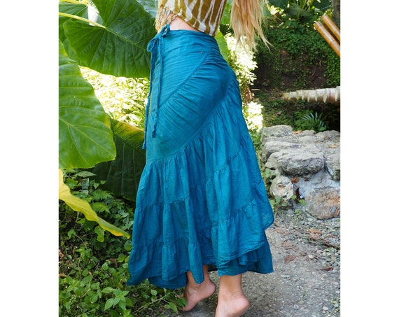 Wrap Skirt in OCEAN // Flirty Fun with Built-in Slip // Breathable Tiered Maxi Skirt