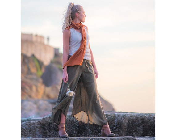 Cotton Flow Pants in OLIVE // Partially Lined, Natural Fiber, Breathable, Flexible Waistband // Stretch & Play with Elegance!