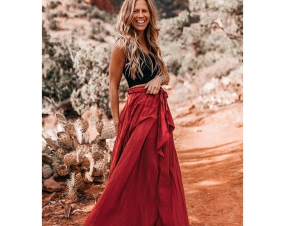 The Athena in RED ROSE // Gauze Cotton Skirt // Light, Flowy, Playfully Elegant Skirt // You are a Gift!