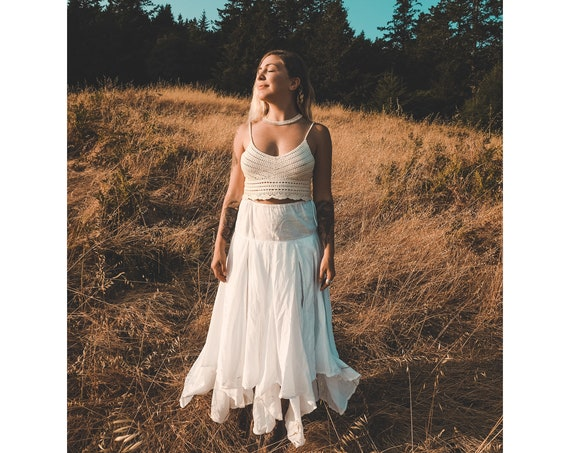 The Fairie Skirt in WHITE // Gauze Cotton Drawstring Skirt // Wedding, Spiritual, Ceremony Skirt