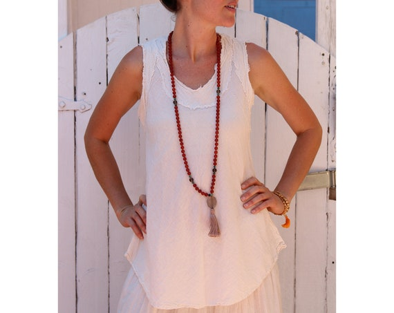 Gauze Tank in CREME NATURAL // Breathable, Weightless, Natural Fiber