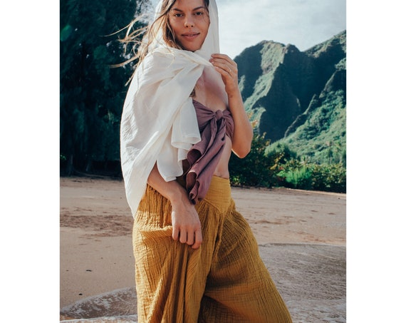 Dakini Pant in GOLD // Luxe Cotton, Pockets // Stretch Fully, Breathe Like a Queen