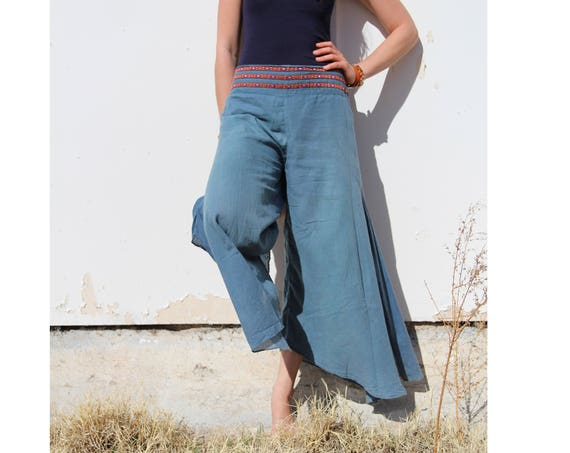 Cotton Flow Pant in DUSTY BLUE // Partially Lined, Moisture Wicking, Yoga, Biking, Play! Flexible Waistband.