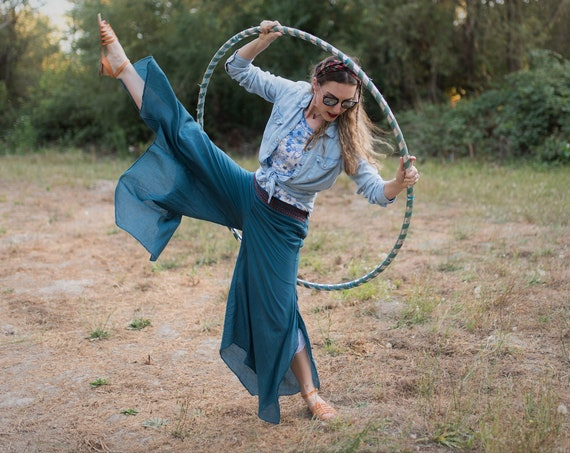 Cotton Flow Pant in OCEAN // Partially Lined, Moisture Wicking, Yoga, Biking, Play! Flexible Waistband.