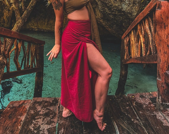 Magik Skirt in RED ROSE // Woven Cotton Wrap Skirt // Your Hips are Cradled in the Lineage of Magik