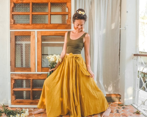 The Athena in MARIGOLD // Gauze Cotton Skirt // Light, Flowy, Playfully Elegant Skirt // You are a Gift!