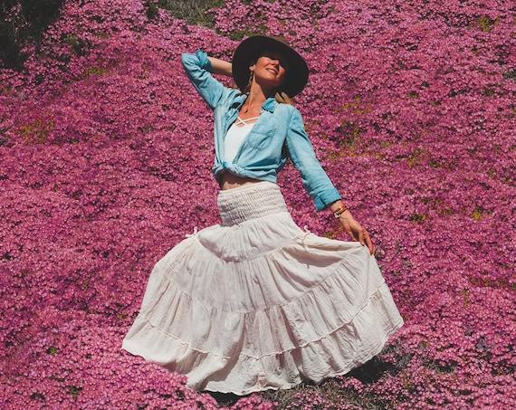Gauze Tiered Maxi Skirt in CREME // Natural Fiber, Flexible Waistband, Slip / Breathable Elegance!