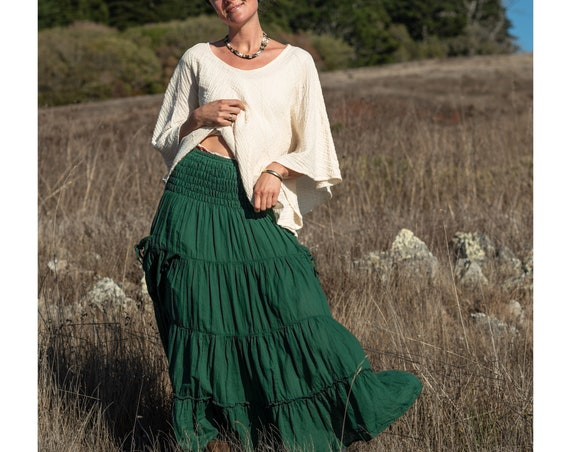Gauze Tiered Skirt in EMERALD // Pockets, Natural Fiber, Flexible Waistband / Emerald Forest Fairy Skirt