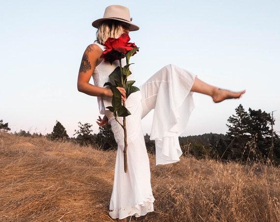Gauze Bells in WHITE // 100% Cotton Gauze Breathable Yoga Dance Play Pants // Feel Good