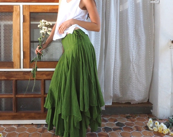 The Fairy Skirt in SUMMER GREEN // Gauze Cotton Drawstring Skirt // Twirl and Dance with the Fairies