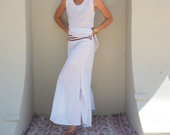 Cotton Flow Pants in WHITE // Partially Lined, Moisture Wicking, Yoga, Ceremony, Biking, Play! Flexible Waistband.