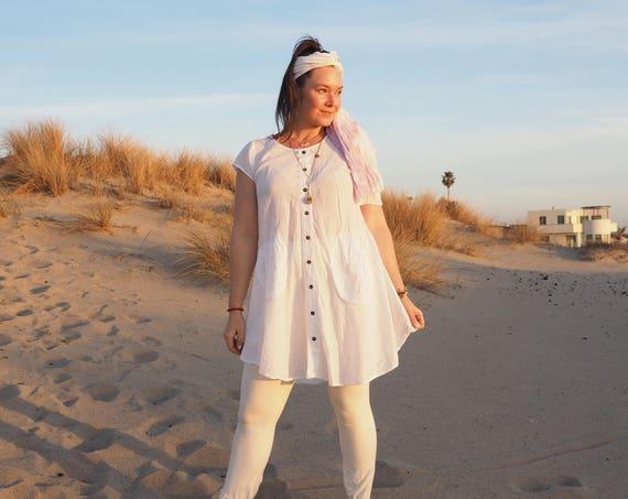 SALE! Cotton Tunic in WHITE // Shine in Gauze Natural Fiber / Elegant Yoga Top or Sun Dress