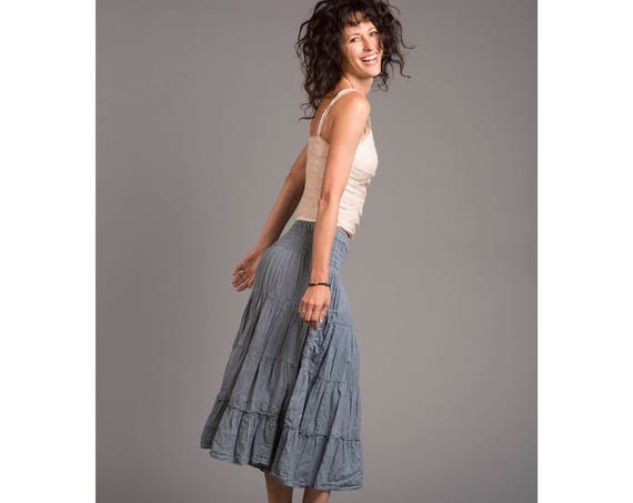 Gauze Tiered Skirt in DUSTY BLUE // Pockets, Natural Fiber, Flexible Waistband, Choice of Length / Breathable Elegance!