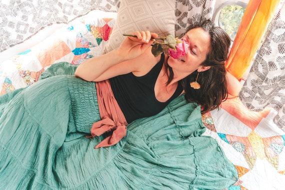 Flutter Skirt in MINT // Lush Cotton, Natural Fiber, Flexible Waistband / Romance Yourself