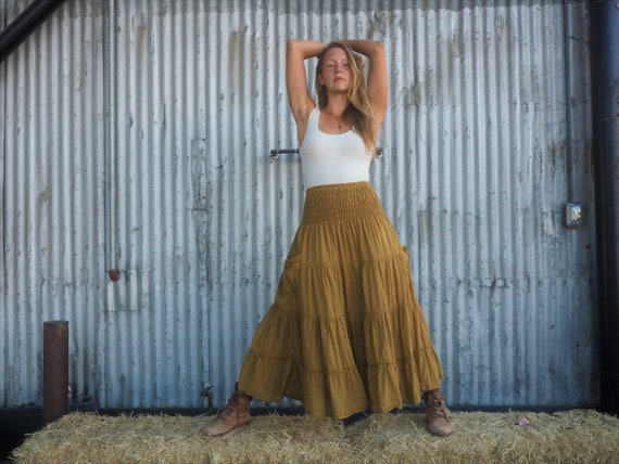 Gauze Tiered Maxi Skirt in GOLD // Pockets, Natural Fiber, Flexible Waistband / Breathable Elegance!