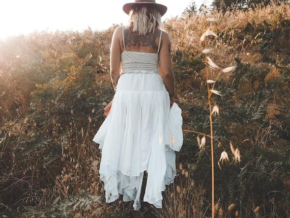Fairie Skirt in WHITE // Gauze Cotton Drawstring Skirt // Wedding, Spiritual, Ceremony Skirt