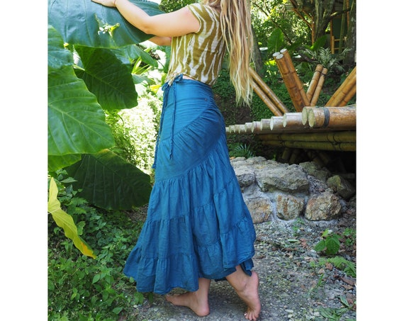 The Wrap Skirt in OCEAN // Flirt, Dance, Play, with a Built-in Slip // Breathable Tiered Maxi