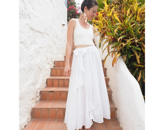 The Athena in WHITE // Gauze Cotton Skirt // Light, Flowy, Playfully Elegant Summer Skirt // You are a Gift!