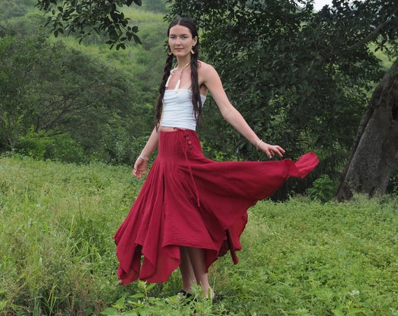 The Fairy Skirt in RED // Gauze Cotton Drawstring Skirt // Twirl and Dance with the Fairies