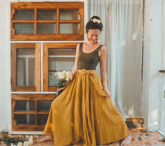 The Athena in GOLD // Gauze Cotton Skirt // Light, Flowy, Playfully Elegant Skirt // You are a Gift!