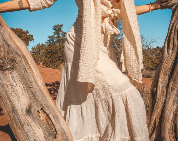 Gauze Tiered Maxi Skirt in CREME // Natural Fiber, Flexible Waistband, Slip / Breathable Elegance!