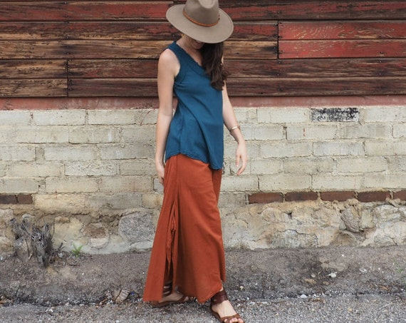 Cotton Flow Pants in RUST // Partially Lined, Natural Fiber, Breathable, Flexible Waistband // Stretch & Play with Elegance!