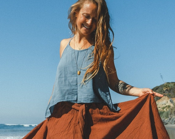 Gauze Cami in DUSTY BLUE // Gauze Cotton Natural Airy Dream // Hearts Breathe Free