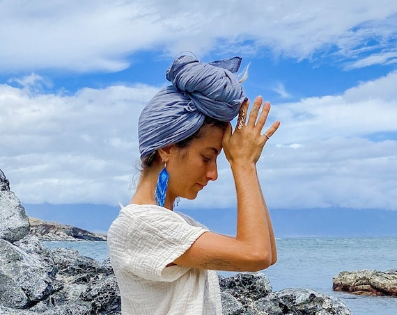 Gauze Crown Wrap in DUSTY BLUE // Goddess Crown, Frida Kahlo in Cotton, Mini Turban, Gauze Cotton Headcover // Be the Queen You Are