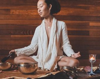 The Lotus Wrap in CREME // Long-Sleeve Cotton Button Wrap, Mini Cloak // Hearts Full of Light ~ Cozy Kuan Yin