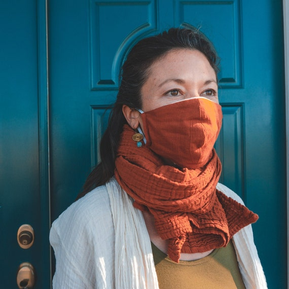 Gauze Cotton Mask in RUST  // Face Covering // Breathe Easy