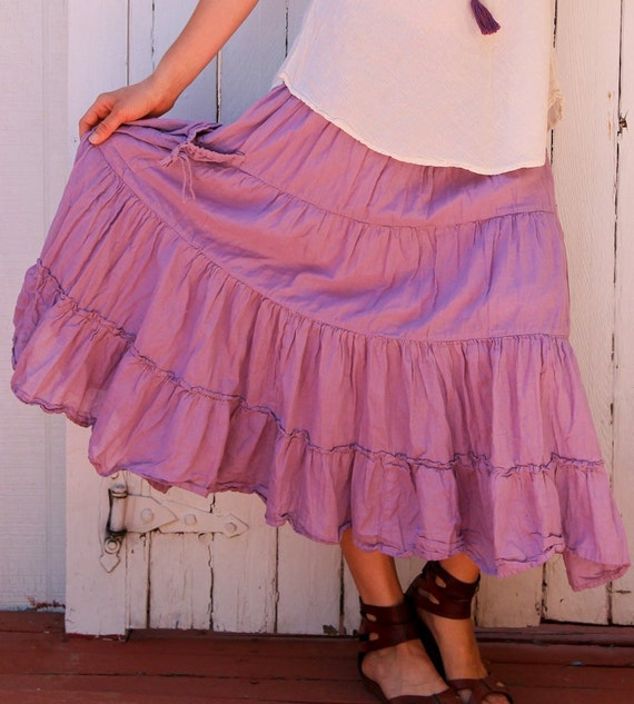 Gauze Tiered Skirt in LAVENDER // Pockets, Natural Fiber, Flexible Waistband / Breathable Elegance!