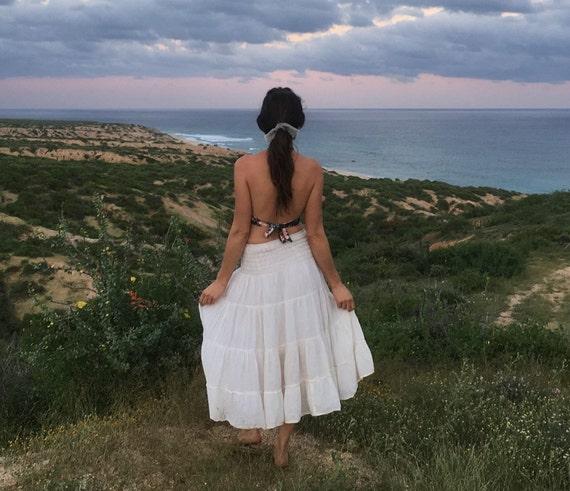 Gauze Tiered Skirt in CREAM // Natural Fiber, Flexible Waistband, Slip / Breathable Elegance!