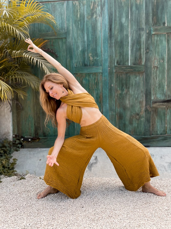 Spirit Pants in GOLD // Natural Cotton Yoga Dance Movement Bottoms // Sing, Soar, Float, Dance, Express your Divine Being