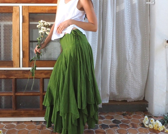 The Fairie Skirt in GREEN // Gauze Cotton Drawstring Skirt // Twirl and Dance with the Fairies