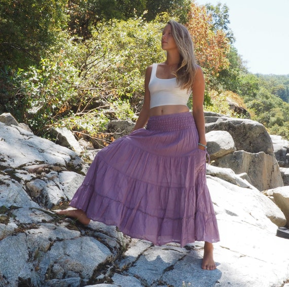 Gauze Tiered Maxi Skirt in LAVENDER // Pockets, Natural Fiber, Flexible Waistband / Breathable Elegance!