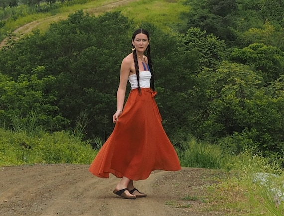 The Athena in TANGERINE // Gauze Cotton Skirt // Light, Flowy, Playfully Elegant Summer Skirt // You are a Gift!