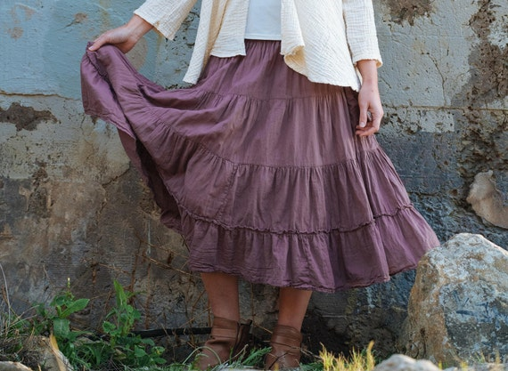 Gauze Tiered Skirt in DESERT ROSE // Pockets, Natural Fiber, Flexible Waistband / Breathable Elegance!