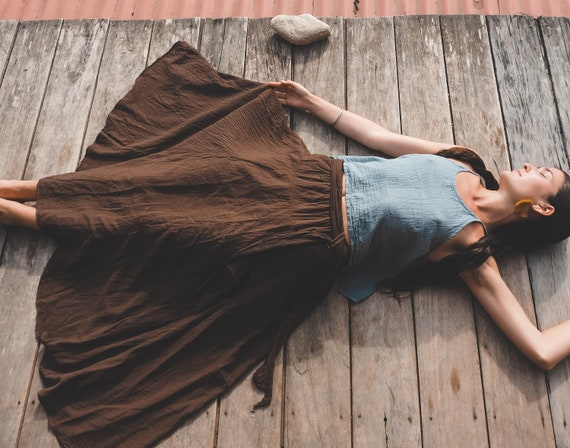 The Athena in BROWN // Woven Cotton Skirt // Light, Flowy, Playfully Elegant Skirt // You are a Gift!